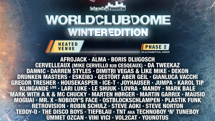 BigCityBeats World Club Dome Winter Edition 2020 Line-up Phase 2